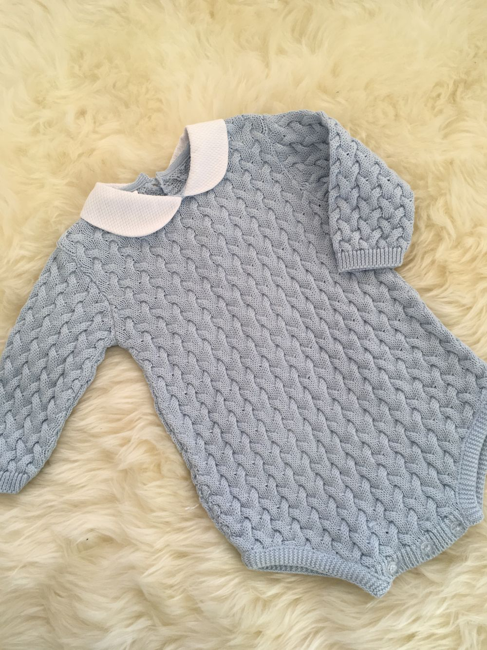 2918ca69c SPANISH KNITTED ALL IN ONE BLUE BOYS CABLE ROMPER