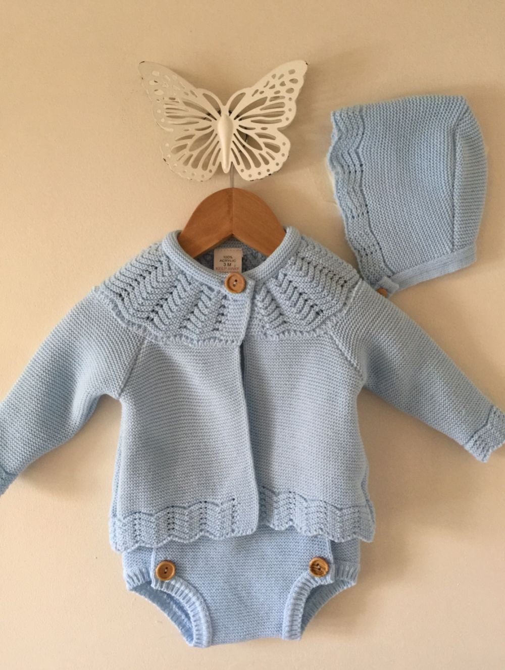 b36be318f Spanish 3 piece knitted baby blue boys jam pant set