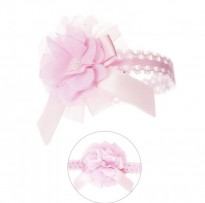 baby girls soft lace headband rosette bow pink