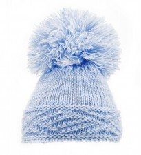 baby blue boys acrylic knitted pom pom hat