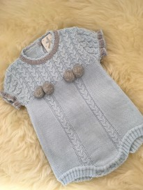 0df493a01 spanish cable knitted boys all in one romper pom poms