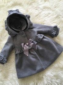 spanish style girls grey knne length coat in grey ruffles bow