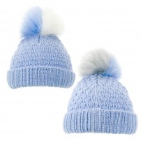 two tone fur pom pom knitted baby blue boys hat