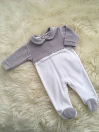 babiy girls all in one velour romper diamante bows grey white
