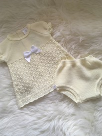 815a815e6 spanish style girls knitted lemon dress with pants