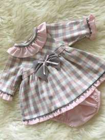 spanish girls checked dress with pants pink ivory