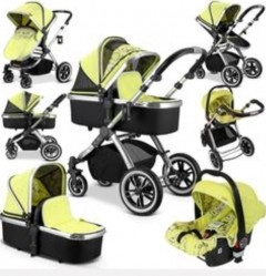 ivogue pear  3 in 1 travel system pram carrycot carseat