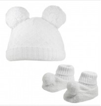 diamond knit double pom pom hat in white matching bootees