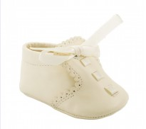 sevva ivory soft soled pram shoes ribbon laces