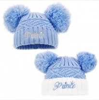 baby boys prince knitted pom pom hat blue white