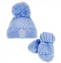baby blue boys  crown knitted hat mittens