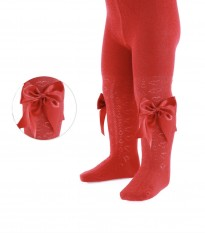 girls red knit heart detail bow tights