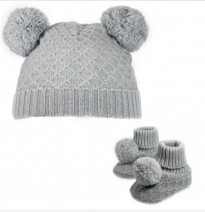 grey diamond knit double pom pom unisex hat bootees