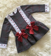 spanish style grey red tartatn dress red bows