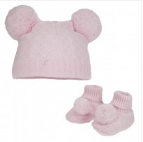 girls diamond knit double pom pom knitted hat bootees