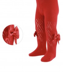 spanish baby girls red perelene tights with bow
