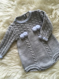spanish style cable knitted all in one romper grey blue