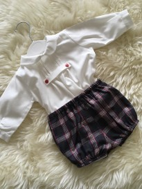 spanish style christening boys cotton shirts checked tartan jam pants