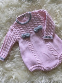 spanish style cable knitted  all in one romper pink grey