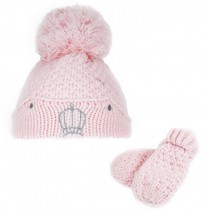 baby pink girls large pom pom crown hat with mittens
