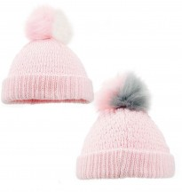baby girls pink faux fur two tone pom pom pink white