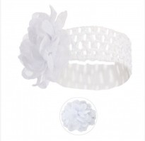 baby girls soft stretchy lace flower headband in white