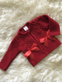 spanish style knitted girls cardigan cable knit bows