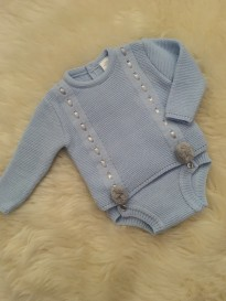spanish boys knitted jam pants and jumper blue grey pom poms