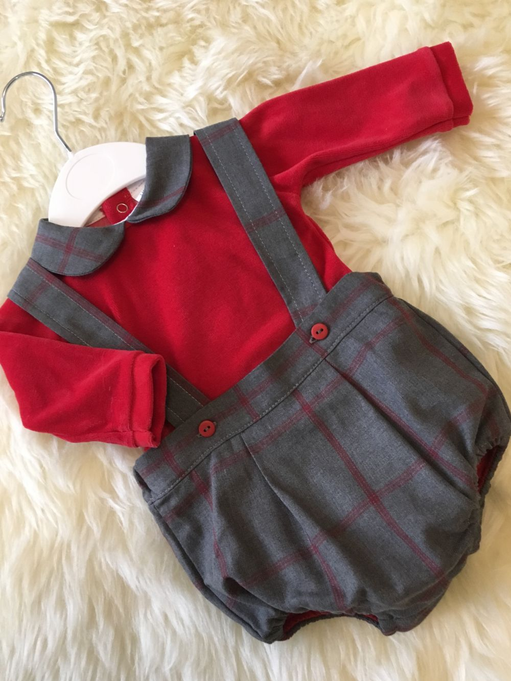 spanish style boys dungerees romper christmas outfit red grey checks