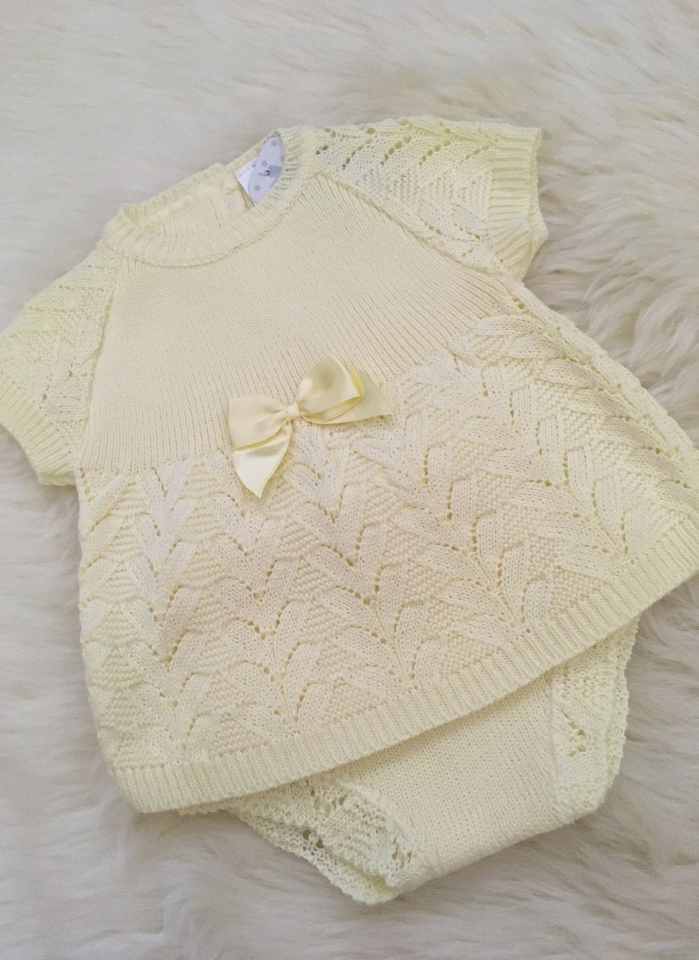 spanish style pereline knit tunic matching knitted pants lemon