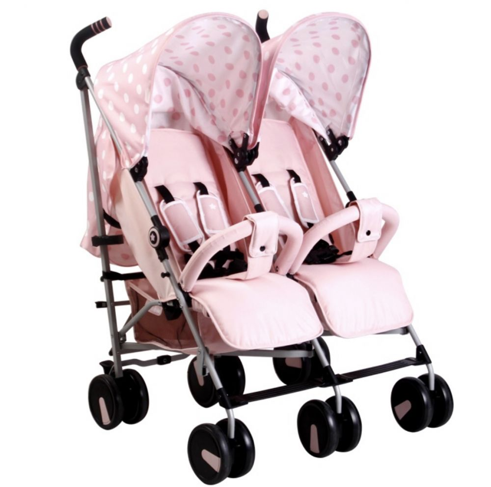 my babiie mb22 pink polka dot twin double buggy stroller
