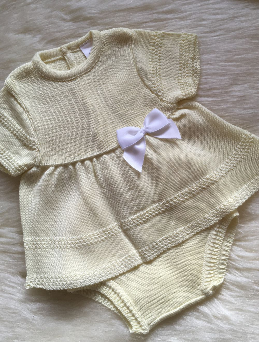 spanish style baby girls knitted tunic dress with pants in lemon