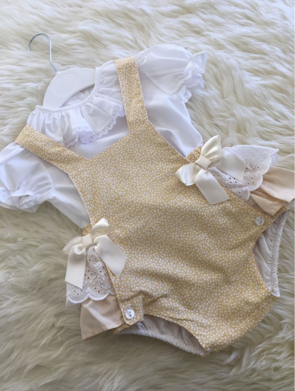 spanish baby girls lemon white jam pants dungerees with frilly bum