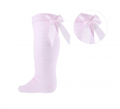 spanish style baby girls knee high bow socks pink