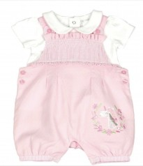 baby girls smocked dungerees romper oink and whire unicorn