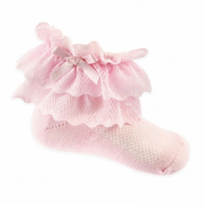baby girls pink lace ankle socks