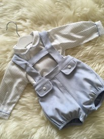 spanish style baby boys hbar dungerees with shirt