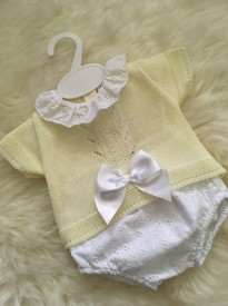 spanish style knitted bow top lemon white pants