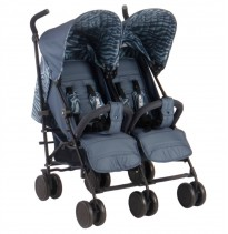 my babiie am-pm chelsea  double twin buggy blue tiger print