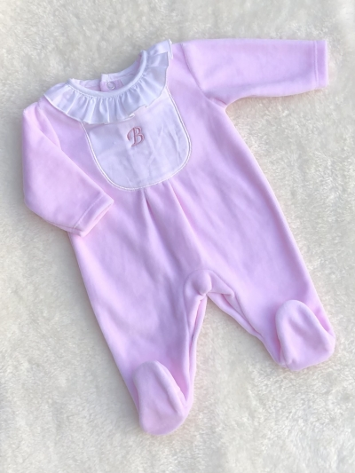 baby girls velour all in one romper pink white