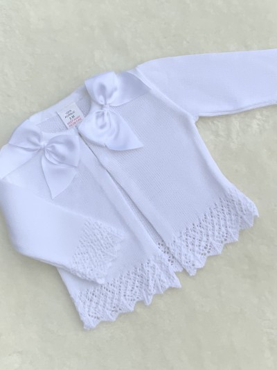 baby girls white fancy knit cardigan bows