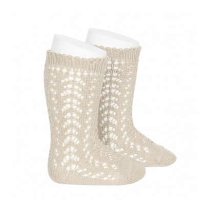 condour 100% cotton openwork knee high socks linen