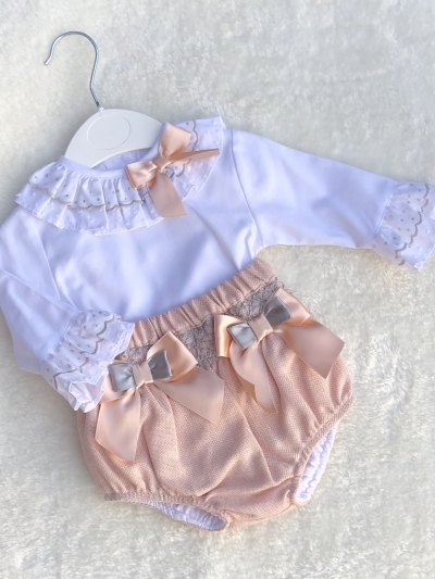 baby girls smocked jam pants embroided blouse  peach