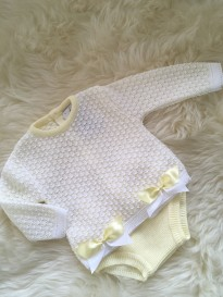 spanish style girls knitted jumper and jam pants lemon white