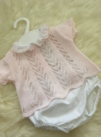 spanish style  baby girls lace knit top and jam pants pink white