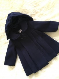 navy blue baby girls knee length coat jacket