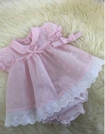 traditional style baby girls pink white dress with oants and headband