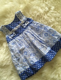 spanish style baby girls dress in porcelain blue paisley print