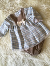 spanish style checked dress blue ivory beige check  matching pants