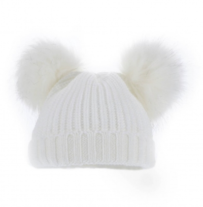 unisex white knitted hat faux fur pom poms